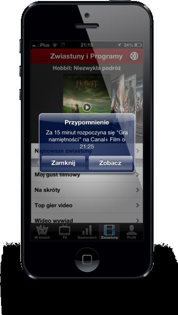 Filmweb iPhone przypomnienie