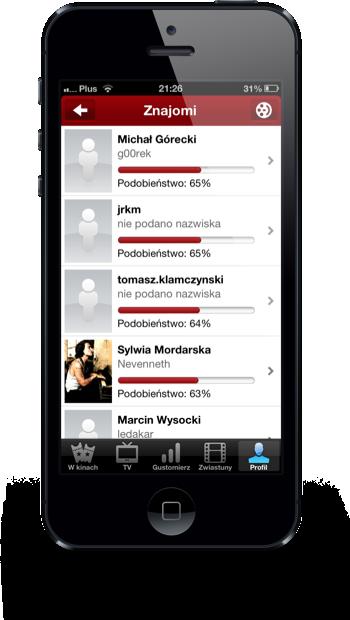 Filmweb iPhone znajomi