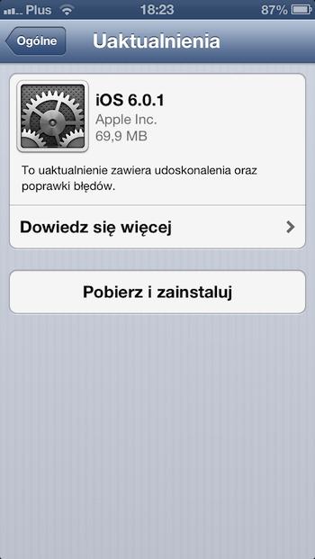 iPhone 5 iOS 6.01 info
