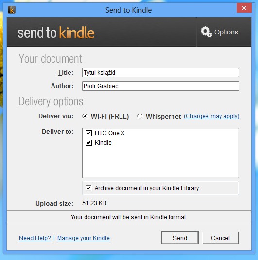 kindle send to pc