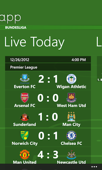 Football App Windows Phone 1