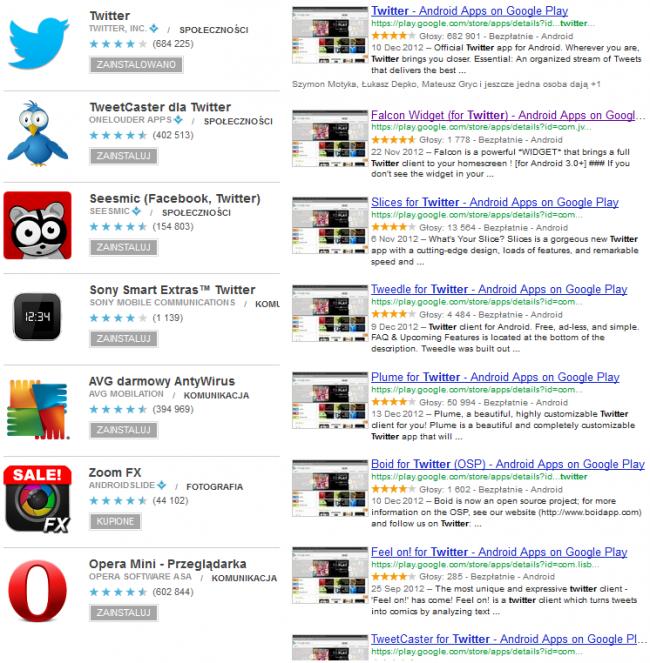 wyniki wyszukiwania twitter w google play