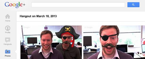 Google Plus z emotkami, słitfociami i opaską pirata. Arrr!