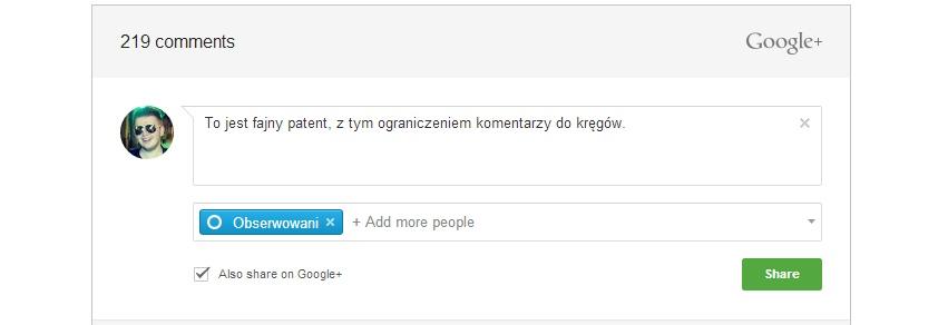 Google robi komentarze dla stron, takie jak ma Facebook