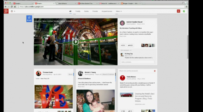 google plus nowy stream
