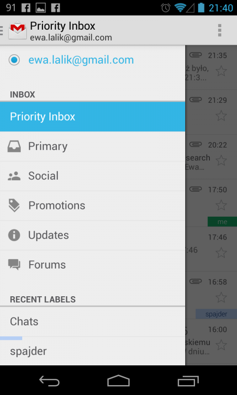 gmail android 3