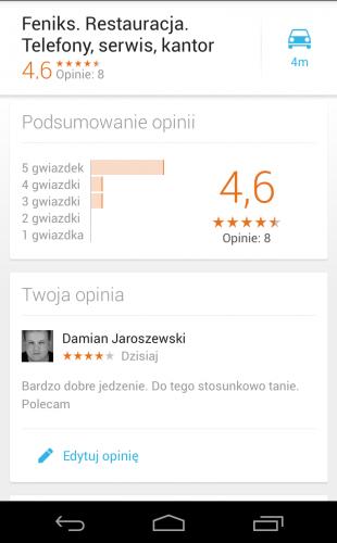 mobilne mapy google - ocenianie