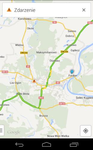 mobilne mapy google - natężenie ruchu