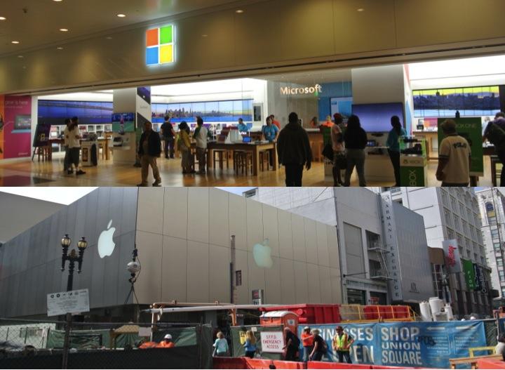 Microsoft Store i Apple Store na jednej ulicy w San Francisco stali