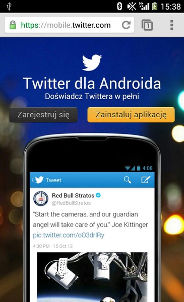 Twitter Android Chrome