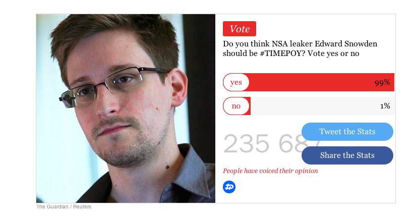 """Czy Edward Snowden zasługuje na miano """"człowieka roku""""?"""