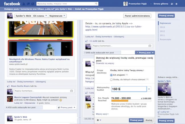 Facebook nachalne reklamy