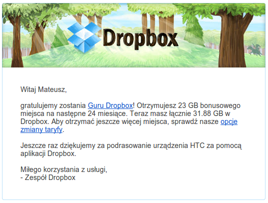 dropbox 23gb dla htc one
