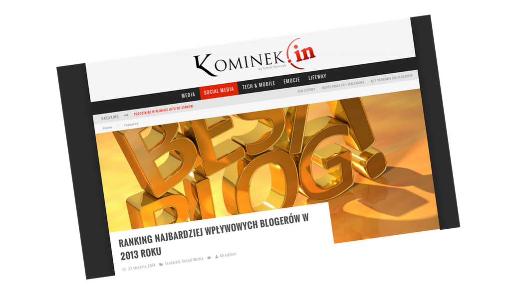 Ranking blogerów Kominka to jedyna udana próba definiowania topu polskiej blogosfery