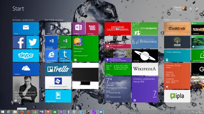 Menu Start w interfejsie kafelkowym Windows 81 update 1