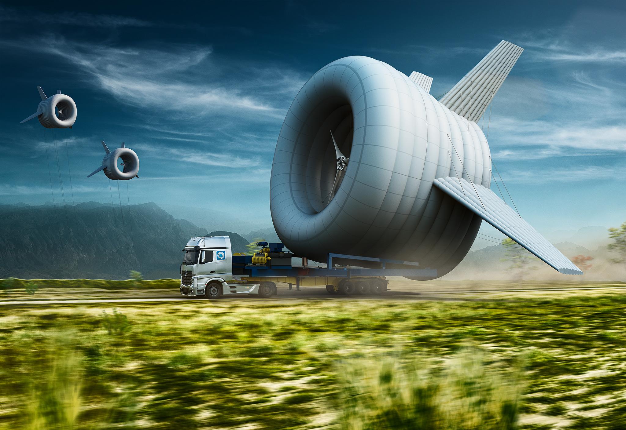 Nie, to nie są statki kosmiczne, to latające turbiny wytwarzające czystą energię