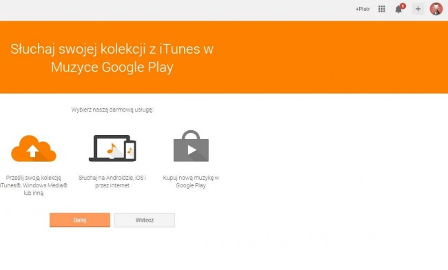 Google Play Music – upload