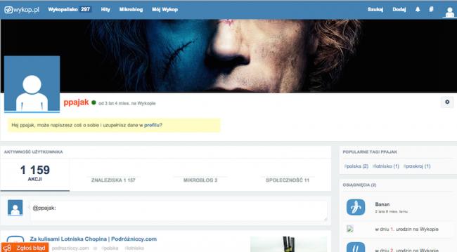 Nowy Wykop – strona profilu