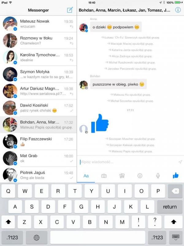 Facebook Messenger iPad Pion