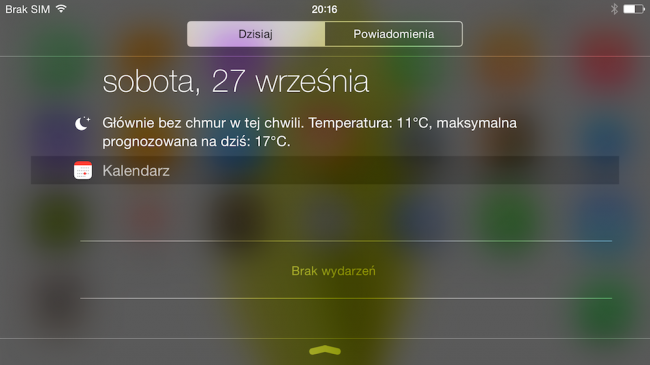 iOS 8, 6+, widok today