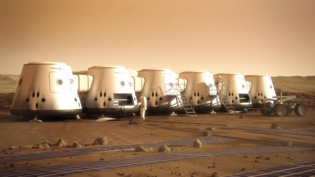 Tak może wyglądać tzw. baza przejściowa, zbudowana z części lądowników, które dostarczą kolonizatorów na Marsa.