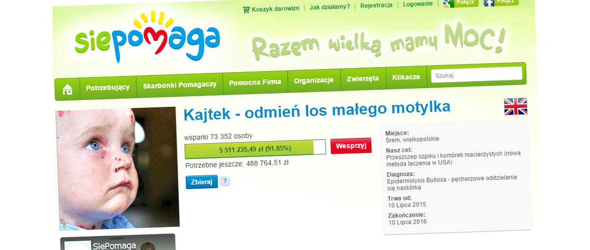 Polski Internet nie widział czegoś podobnego – 6 mln zł w zaledwie 6 dni! Rekordowa zbiórka dla chorego Kajtka