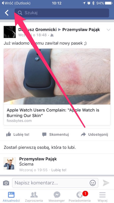 przycisk wróć iOS9, 3