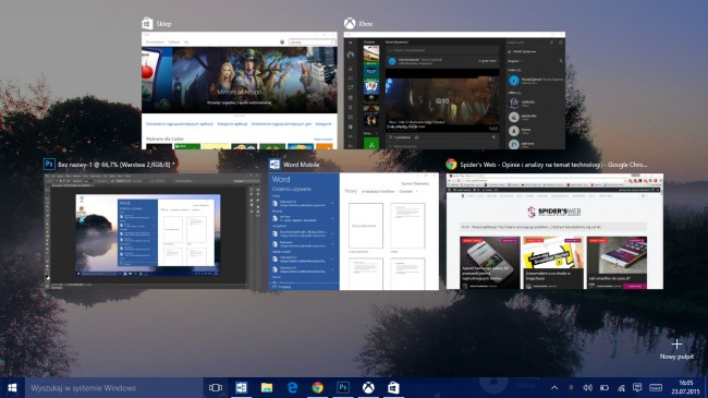 windows 10  widok zadań