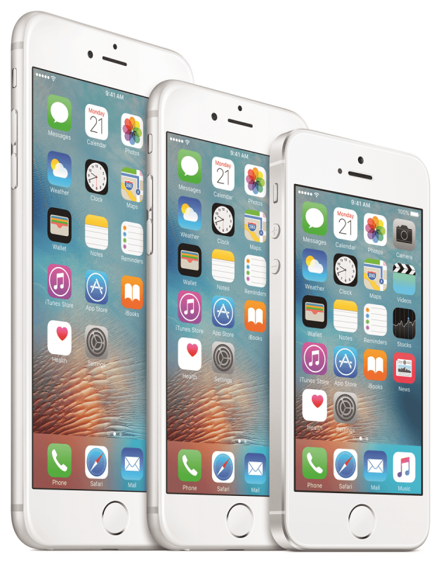 Rodzina ttelefonów Apple: iPhone 6s Plus, iPhone 6 oraz nowy iPhone SE
