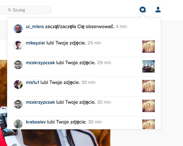 Powiadomienia - Instagram w przeglądarce
