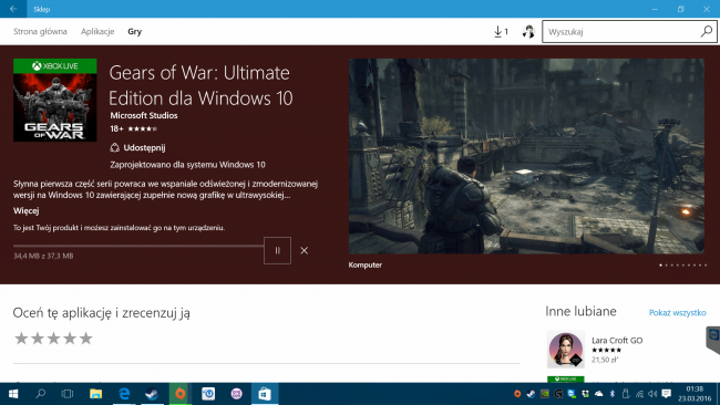 Aplikacja Xbox i Windows Store - gry AAA