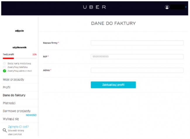 Profile firmowe w Uberze - Uber dla firm