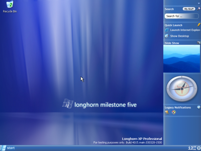 Longhorn Windows Vista wsparcie