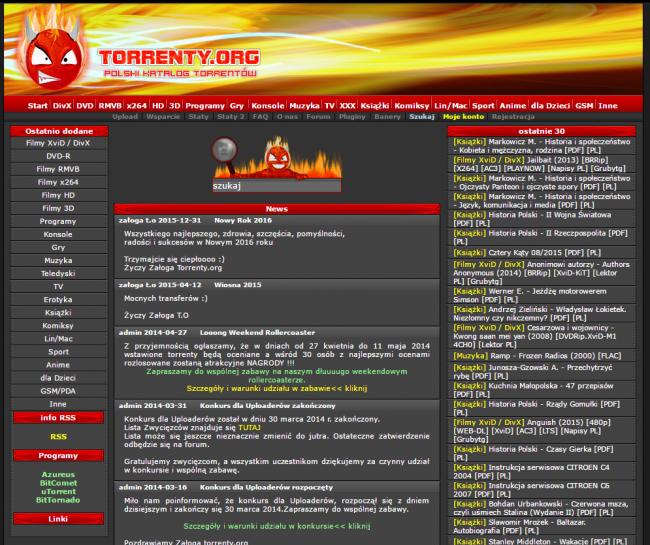 Tak wyglądała strona Torrenty.org. Aktualnie nie działa