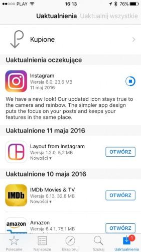 Instagram - nowa ikona i nowy interfejs aplikacji