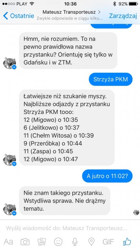 Transporteusz - polski bot w Messengerze
