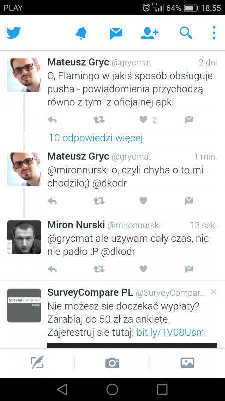 Dotychczasowa wersja Twittera na Androidzie