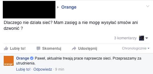 Orange nie działa awaria nie da sie polaczyc nie ma internetu