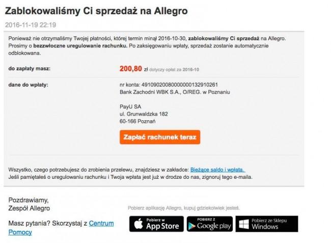 Próba ataku phisingowego na klientów Allegro