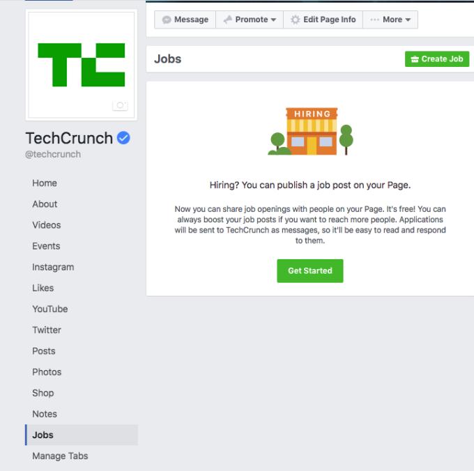 Facebook wprowadza rekrutację na stronach.