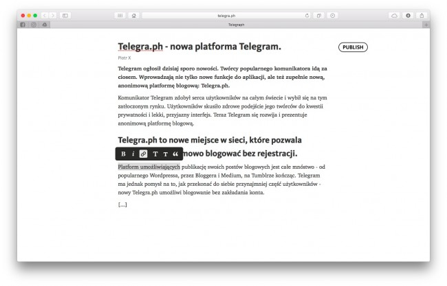 Telegra.ph - blog od twórców Telegram