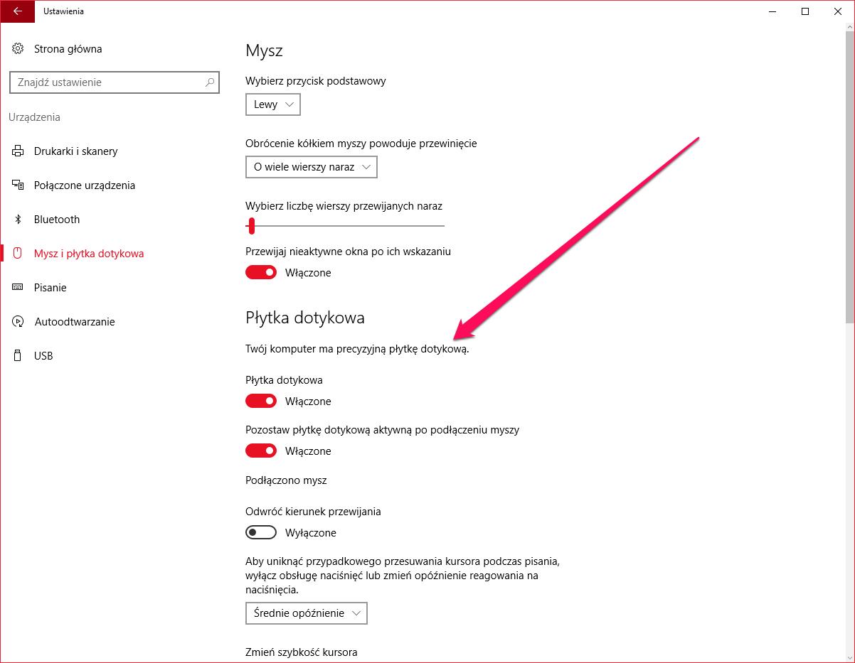 Windows 10 i gesty - precyzyjna płytka dotykowa