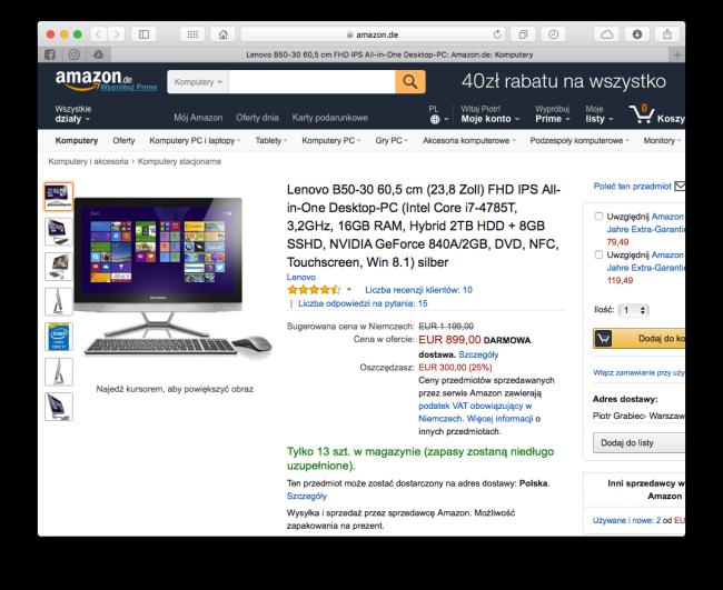 Amazon.pl - zakupy z Polski