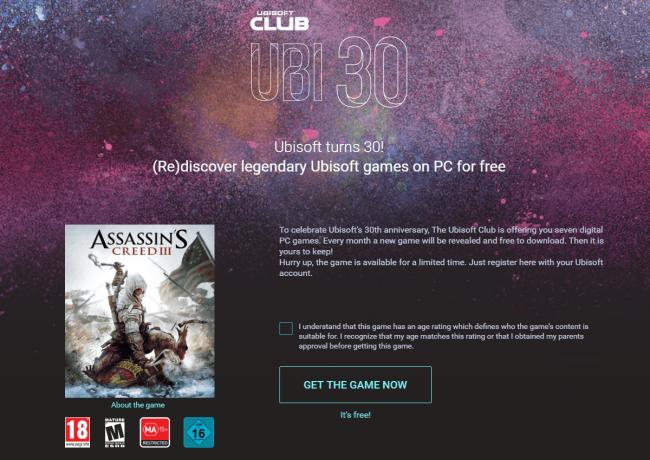 """Assassin's Creed III za darmo. Szukaj na stronie i w aplikacji zakładki """"Ubi 30""""."""
