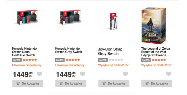 Nintendo Switch cena w Polsce