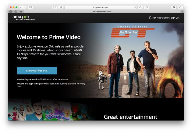 Co zamiast Kinoman.tv? Amazon Prime Video