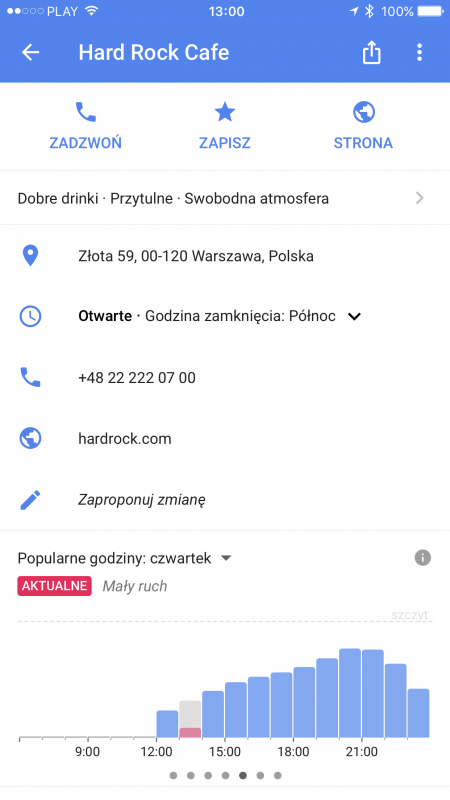 google maps iphone popularne godziny live
