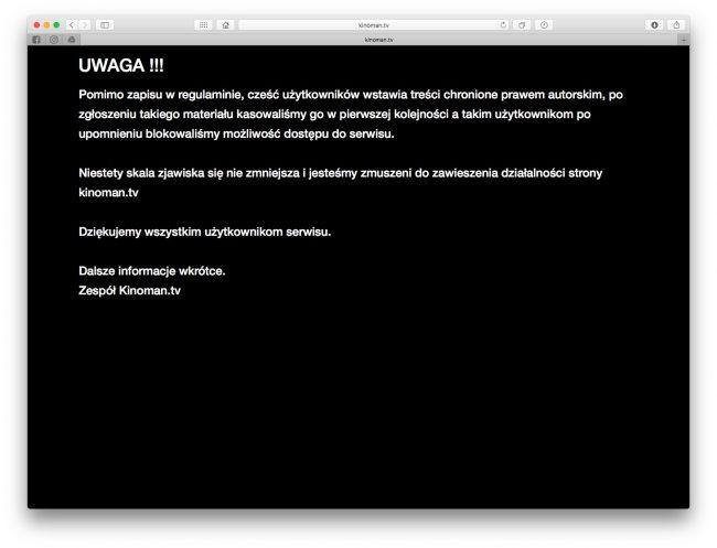 Kinoman.tv - serwis został zamknięty. Co zamiast Kinomana?