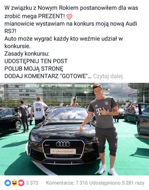 """Fałszywe konto """"Robert Lewandowski Konto Oficjalne"""" próbuje oszukać użytkowników Facebooka."""