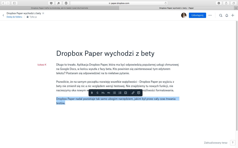 Dropbox Paper wychodzi z Bety.